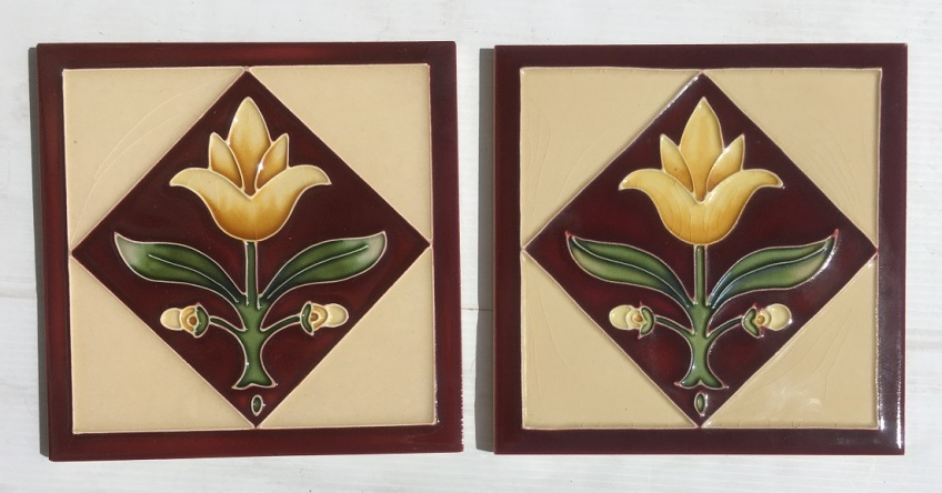 Reproduction 'tubeline' fireplace tiles, 6 x 6inch, yellow tulip in a burgundy diamond, buff background, 2 available, $66 pair SET 137 salvaged, recycled, demolition, reproduction, restoration, renovation,collectable, secondhand, used , original, old, reclaimed, heritage, antique, victorian, art nouveau edwardian, georgian, art deco