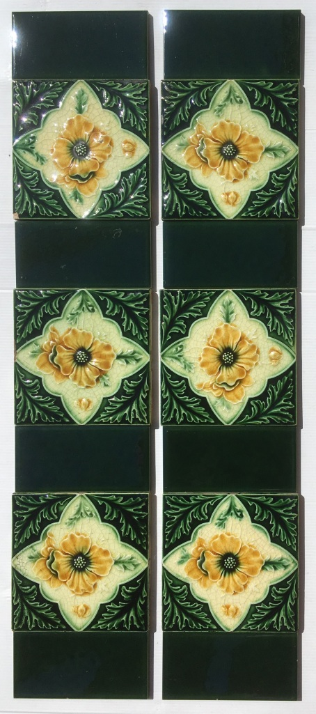 salvaged, recycled, demolition, reproduction, restoration, renovation,collectable, secondhand, used , original, old, reclaimed, heritage, antique, victorian, art nouveau edwardian, georgian, art decoOriginal English, c1900-1910 Aesthetic floral tiles in deep green and warm yellow, 2 panel fireplace set $245 OTB 16