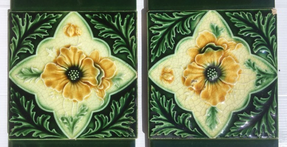 salvaged, recycled, demolition, reproduction, restoration, renovation,collectable, secondhand, used , original, old, reclaimed, heritage, antique, victorian, art nouveau edwardian, georgian, art deco Detail of original English, c1900-1910 Aesthetic floral tiles in deep green and warm yellow, $245 OTB 16