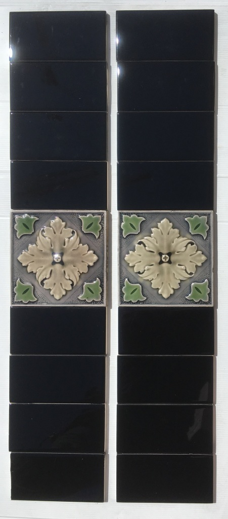 Sherwin and Cotton original English embossed fireplace tiles, c 1895, unusual grey tones, matched with gloss black 6 x 3 inch tiles, 2 panel fireplace set $185 OTB 12 salvaged, recycled, demolition, reproduction, restoration, renovation,collectable, secondhand, used , original, old, reclaimed, heritage, antique, victorian, art nouveau edwardian, georgian, art deco Sherwin and Cotton original English embossed fireplace tiles, c 1895, unusual grey tones, matched with gloss black 6 x 3 inch tiles, 2 panel fireplace set $190 OTB 12