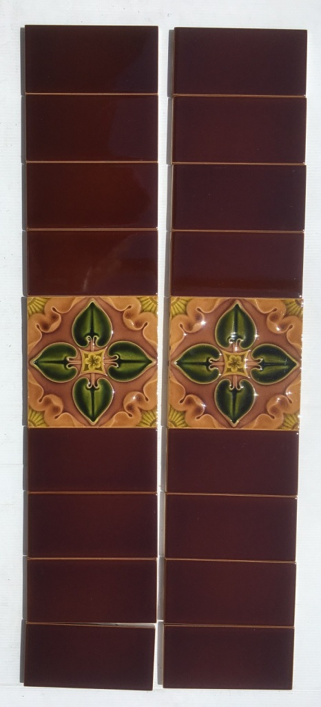 Pilkington Tile Co picture tiles, c1903, quatrefoil design in green to brown. 2 panel fireplace set, $180 SET 135salvaged, recycled, demolition, reproduction, restoration, renovation,collectable, secondhand, used , original, old, reclaimed, heritage, antique, victorian, art nouveau edwardian, georgian, art deco