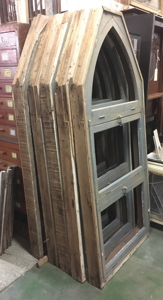 Ex church timber window frames, set of five, no glass, some repairs required, H860 x h1965 $800 for 5