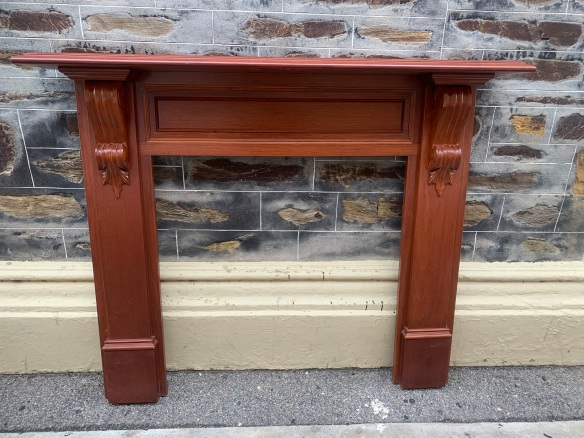 * Polished Cedar Victorian style mantle, top shelf is 1480 mm x 220 mm , height is 1200 mm , opening is 875 mm wide x 915 mm , $ 545 salvaged, recycled, demolition, reproduction, restoration, renovation,collectable, secondhand, used , original, old, reclaimed, heritage, antique, victorian, art nouveau edwardian, georgian, art deco