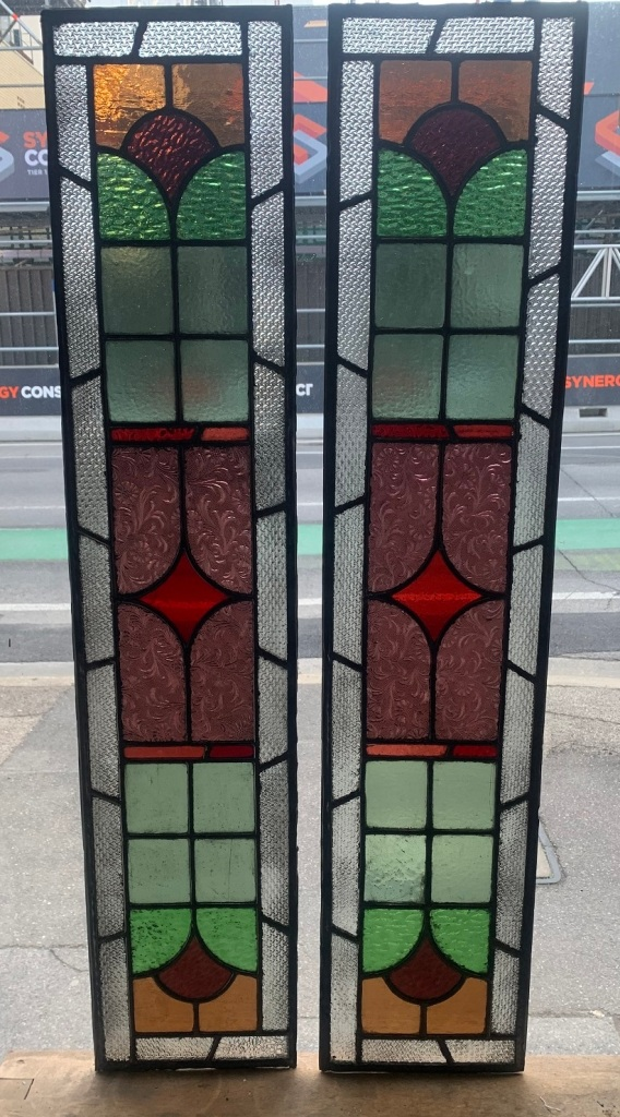salvagedGeometric Leadlight panel , 1075 mm x 228 mm , $ 365 each , 2 available, recycled, demolition, reproduction, restoration, renovation,collectable, secondhand, used , original, old, reclaimed, heritage, antique, victorian, art nouveau edwardian, georgian, art deco