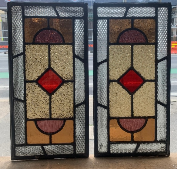 salvagedGeometric Lead light panels , 452 mm x 227 mm , $ 185 each , 2 available, recycled, demolition, reproduction, restoration, renovation,collectable, secondhand, used , original, old, reclaimed, heritage, antique, victorian, art nouveau edwardian, georgian, art deco