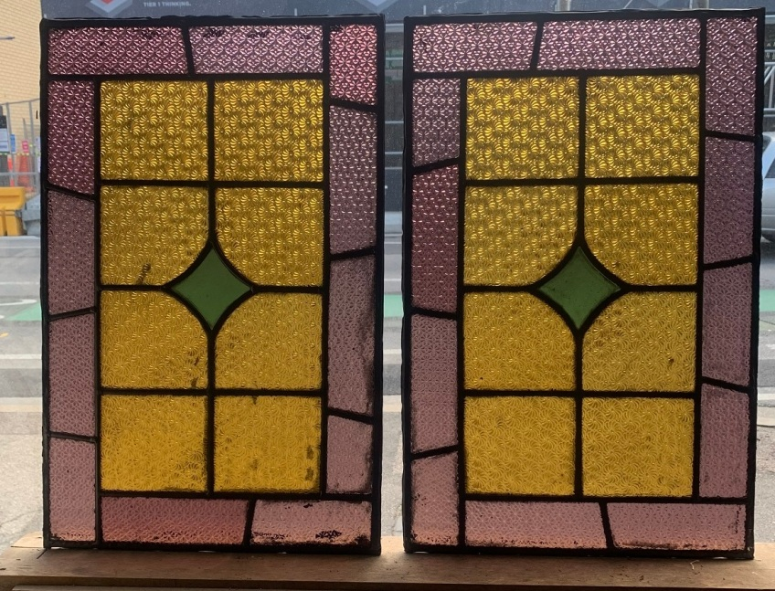 salvaged,Early geometric leadlight panels 576 mm x 371 mm , $ 245 each , 2 available recycled, demolition, reproduction, restoration, renovation,collectable, secondhand, used , original, old, reclaimed, heritage, antique, victorian, art nouveau edwardian, georgian, art deco