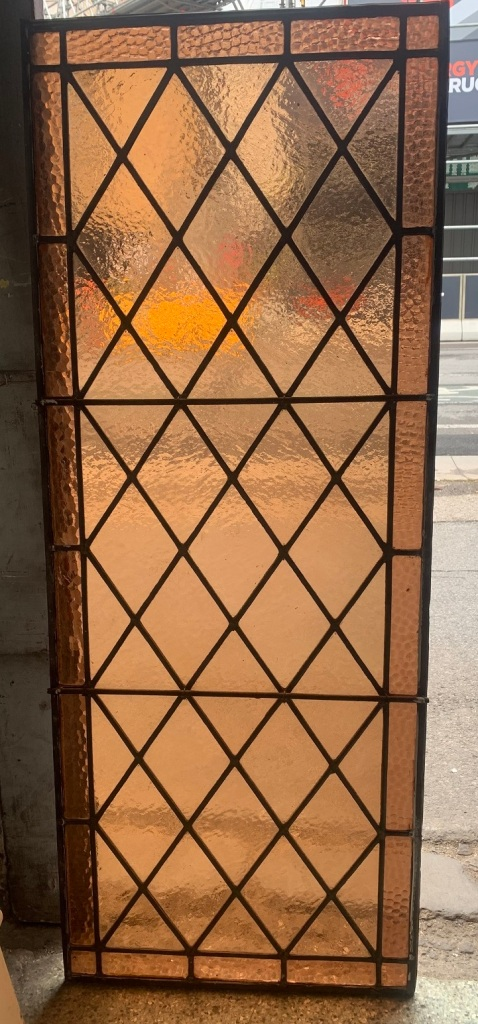 salvaged, Leadlight panel with diamond pattern , 1130 mm x 445 mm , $ 220recycled, demolition, reproduction, restoration, renovation,collectable, secondhand, used , original, old, reclaimed, heritage, antique, victorian, art nouveau edwardian, georgian, art deco