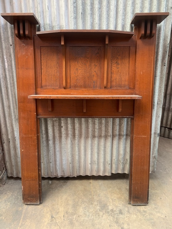 Australian Oak Bungalow fireplace mantlepiece with original polish ,top width is 1405mm x 1835mm tall, opening is 920mm wide x 915mm high, $445 salvaged, recycled, demolition, reproduction, restoration, renovation,collectable, secondhand, used , original, old, reclaimed, heritage, antique, victorian, art nouveau edwardian, georgian, art deco