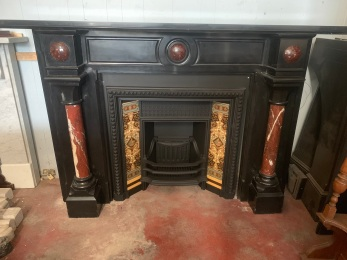 Extremely rare Belgium black marble fireplace mantle with French Rouge Griotte red and white marble full freestanding pillars and raised domes in breastplate. Top shelf width 1907 x depth 350mm, opening width 962 x 964mm. Includes fully restored, cast iron early Victorian fireplace insert and tiles. Contact Peter for pricing and more information original, old, reclaimed, heritage, antique, victorian, art nouveau edwardian, georgian, art deco