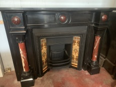 Extremely rare Belgium Black Marble mantle piece with Rouge pillars and very early restored cast iron grate, Contact Peter for pricing and more information salvaged, recycled, demolition, reproduction, restoration, renovation,collectable, secondhand, used , original, old, reclaimed, heritage, antique, victorian, art nouveau edwardian, georgian, art deco