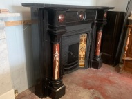 Extremely rare Belgium black marble fireplace mantle with French Rouge Griotte red and white marble full freestanding pillars and raised domes in breastplate. Includes fully restored, cast iron early Victorian fireplace insert and tiles. Contact Peter for pricing and more informationsalvaged, recycled, demolition, reproduction, restoration, renovation,collectable, secondhand, used , original, old, reclaimed, heritage, antique, victorian, art nouveau edwardian, georgian, art deco