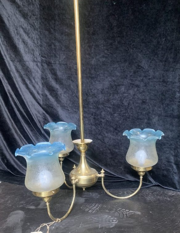 Three branch light with blue edge, frosted, fluted shades, 1300mm drop x 700mm diameter approx, $225 salvaged, recycled, demolition, reproduction, restoration, renovation,collectable, secondhand, used , original, old, reclaimed, heritage, antique, victorian, art nouveau edwardian, georgian, art deco