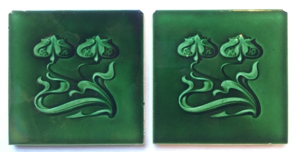 Original Art Nouveau tiles, maker T and R Boote tiles England, c1900-1910, green glaze, nipped corners, pair $85 WS salvaged, recycled, demolition, reproduction, restoration, renovation,collectable, secondhand, used , original, old, reclaimed, heritage, antique, victorian, art nouveau edwardian, georgian, art deco washstand tiles fireplace tiles