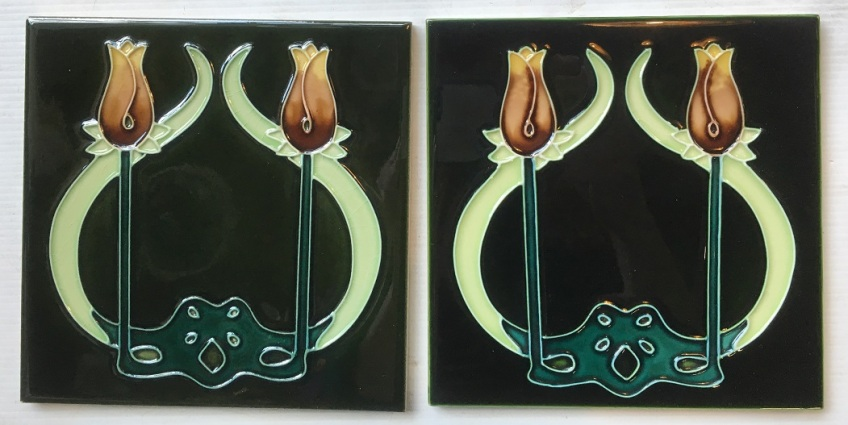 Reproduction Art Nouveau tiles, tulip design, deep green background $33 each SET 152 washstand tiles fireplace tiles