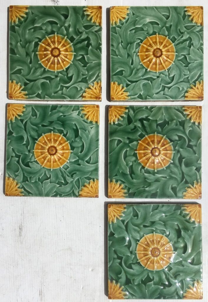 Malkin Edge and Co, England feature tiles, 6x6 inch, dated to late 1800s, 5 tiles available, $45 each WSsalvaged, recycled, demolition, reproduction, restoration, renovation,collectable, secondhand, used , original, old, reclaimed, heritage, antique, victorian, art nouveau edwardian, georgian, art deco washstand tiles fireplace tiles