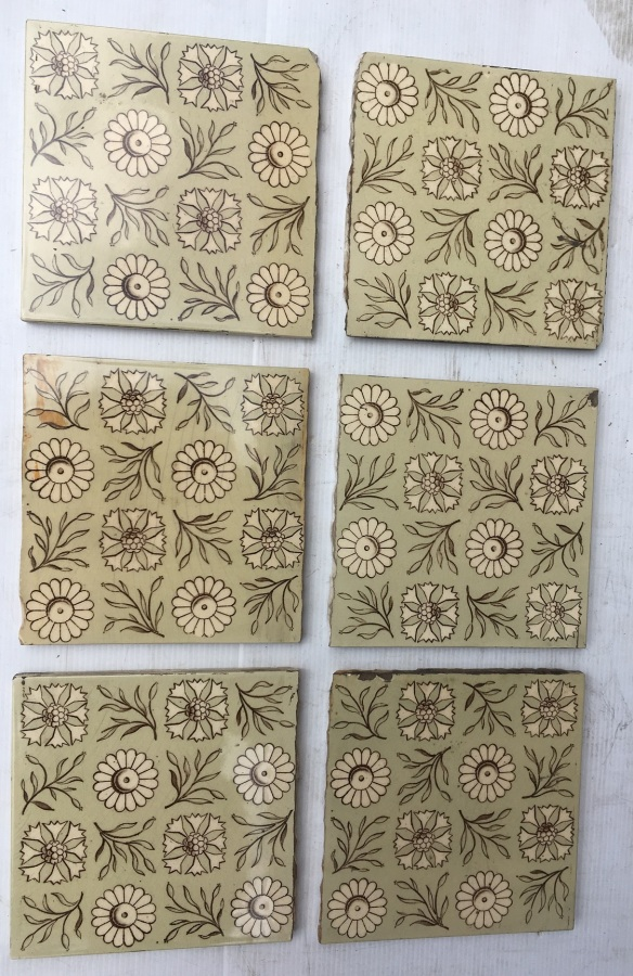 original Victorian fireplace tiles circa 1890. 6x6 inch, teapot brown flower and foliage design on buff ground. Suit placement in fireplace to hide nipped edge on each tile. 6 available $25 each SET 158, reproduction, restoration, renovation,collectable, secondhand, used , original, old, reclaimed, heritage, antique, victorian, art nouveau edwardian, georgian, art deco washstand tiles fireplace tiles