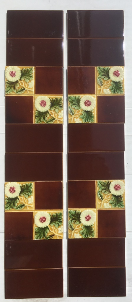 Late Victorian / Aesthetic moulded feature tiles, daisies in square design, $200 for the two panel set SET 144 salvaged, recycled, demolition, reproduction, restoration, renovation,collectable, secondhand, used , original, old, reclaimed, heritage, antique, victorian, art nouveau edwardian, georgian, art deco washstand tiles fireplace tiles