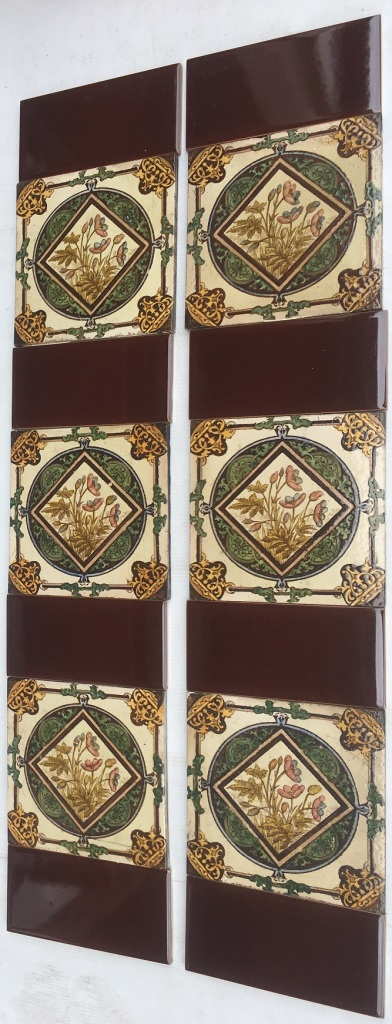 Late Victorian/19th century tinted fireplace tiles $280 for the two panel set OTB 17