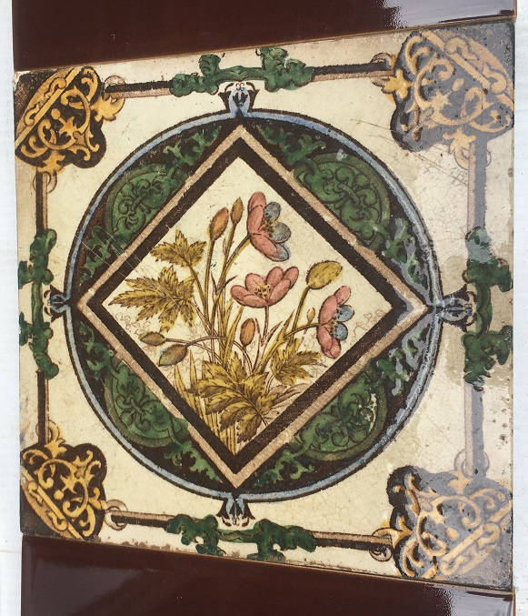 Detail of Late Victorian/19th century hand tinted fireplace tiles $280 for the two panel set OTB 17salvaged, recycled, demolition, reproduction, restoration, renovation,collectable, secondhand, used , original, old, reclaimed, heritage, antique, victorian, art nouveau edwardian, georgian, art deco washstand tiles fireplace tiles