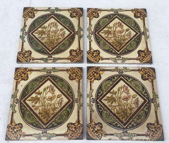 Detail of Late Victorian/19th century hand tinted fireplace tiles $75 per pair of tiles SET 145 (matching tile to fireplace set OTB 17) hing tile to fireplace set OTB 17)salvaged, recycled, demolition, reproduction, restoration, renovation,collectable, secondhand, used , original, old, reclaimed, heritage, antique, victorian, art nouveau edwardian, georgian, art deco washstand tiles fireplace tiles