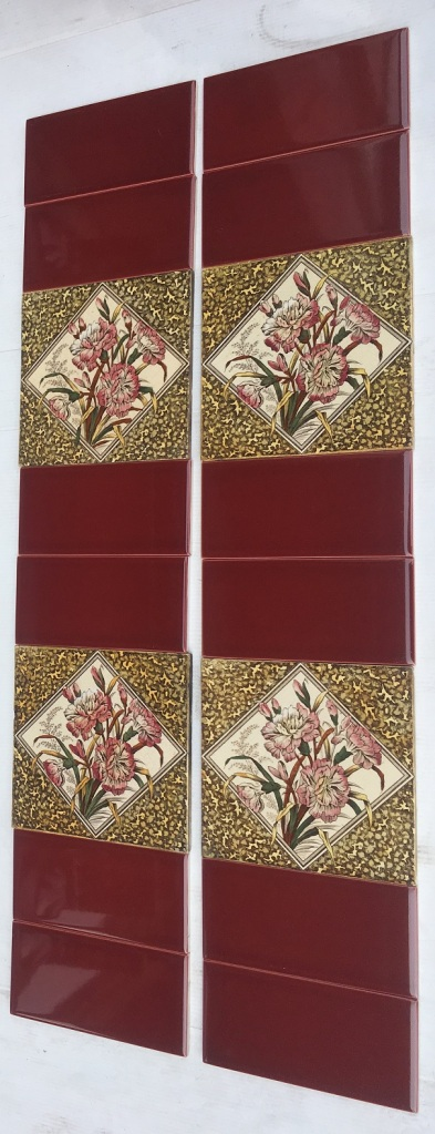 Original Stubbs and Hodgart c1890-1900 Victorian / Aesthetic style fireplace feature tiles, hand tinted with carnations, 2 panel fireplace set, $205 OTB 18 salvaged, recycled, demolition, reproduction, restoration, renovation,collectable, secondhand, used , original, old, reclaimed, heritage, antique, victorian, art nouveau edwardian, georgian, art deco washstand tiles fireplace tiles