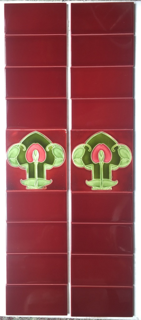 Original and rare c1905 Godwin and Hewitt Art Nouveau fireplace feature tiles, rich burgundy and green glazes, two panel set, $240 OTB 20 salvaged, recycled, demolition, reproduction, restoration, renovation,collectable, secondhand, used , original, old, reclaimed, heritage, antique, victorian, art nouveau edwardian, georgian, art deco washstand tiles fireplace tiles