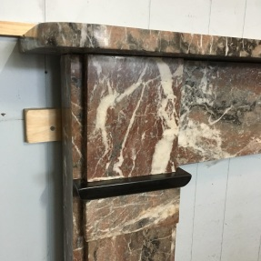 Original Victorian light rouge marble fireplace mantle, strong white and deep grey veins. Top shelf width 1300 x H1145mm