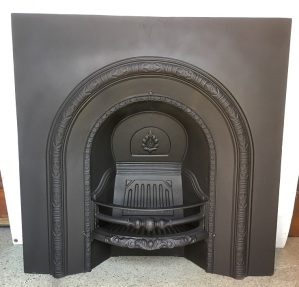 Original cast iron fireplace insert, arch design, restored