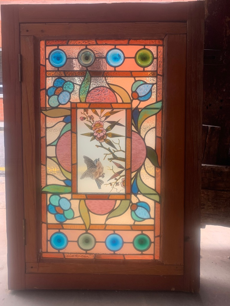salvaged, recycled, demolition, reproduction, restoration, home renovation secondhand, used , original, old, reclaimed, heritage, antique, victorian, art nouveau edwardian, georgian, art decoCasement window with leadlight panel , with hand painted bird to the centre panel , 975 mm x 665 mm , $ 745 salvaged, recycled, demolition, reproduction, restoration, renovation,collectable, secondhand, used , original, old, reclaimed, heritage, antique, victorian, art nouveau edwardian, georgian, art deco