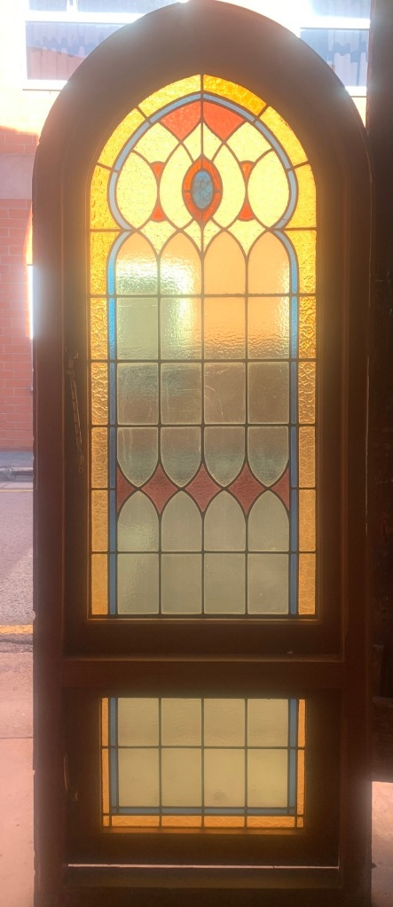 Arch church style windows with bottom casement and red, blue, yellow and clear leadlight , 845 mm x 2250 mm , $ 1500 each , 2 matching available , $ 1500 each , 2 matching available salvaged, recycled, demolition, reproduction, restoration, renovation,collectable, secondhand, used , original, old, reclaimed, heritage, antique, victorian, art nouveau edwardian, georgian, art deco