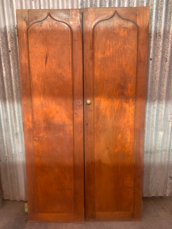 Pair of Huon Pine Shield Front cupboard doors , each door is 530 mm wide x 1920 mm tall , $330 the pair