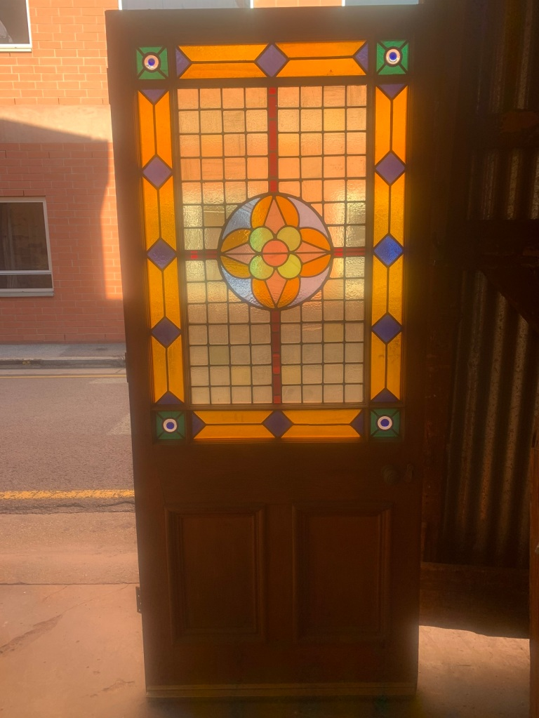 Very large Victorian door with leadlight , with included hardware of a knob, and mortice lock with key , 970 mm wide x 2260 mm high , $1200 salvaged, recycled, demolition, reproduction, restoration, renovation,collectable, secondhand, used , original, old, reclaimed, heritage, antique, victorian, art nouveau edwardian, georgian, art deco