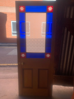 End of Passage door with cut glass to corners, and etched glass to centre panel , 745 mm x 1910 mm , $ 545