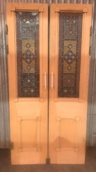 Fantastic pair of French doors with full colour leadlight and bevel cut glass , nice timber decoration to the doors, 1030 mm wide x 2120 mm tall , $1400 the pair salvaged, recycled, demolition, reproduction, restoration, renovation,collectable, secondhand, used , original, old, reclaimed, heritage, antique, victorian, art nouveau edwardian, georgian, art deco