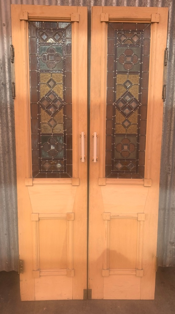 Fantastic pair of french doors with leadlight , nice decoration to the doors, 1030 mm wide x 2120 mm tall , $1400 the pair salvaged, recycled, demolition, reproduction, restoration, renovation,collectable, secondhand, used , original, old, reclaimed, heritage, antique, victorian, art nouveau edwardian, georgian, art deco