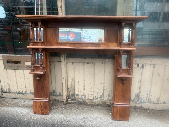 Edwardian Kauri Pine mantle with turnings and mirrors, top shelf is 1525mm x 235mm, height is 1360mm , opening is 910 x 910mm, $485 salvaged, recycled, demolition, reproduction, restoration, renovation,collectable, secondhand, used , original, old, reclaimed, heritage, antique, victorian, art nouveau edwardian, georgian, art deco