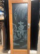Internal glass door with Guitar playing Mexican motif, wearing a sombrero, clear glass , black back drop was for the photo, 763 mm x 2055 mm , $345salvaged, recycled, demolition, reproduction, restoration, home renovation secondhand, used , original, old, reclaimed, heritage, antique, victorian, art nouveau edwardian, georgian, art deco