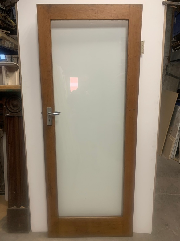 Single internal door, full glass door with timber frame , 808 mm x 2030 mm , $220 salvaged, recycled, demolition, reproduction, restoration, home renovation secondhand, used , original, old, reclaimed, heritage, antique, victorian, art nouveau edwardian, georgian, art deco