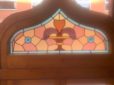 Detail of leadlight in Pair of Peaked frame windows , with leadlight top and 2 opening casement windows, 960 mm x 2195 mm , $ 1450 each , 2 matching available