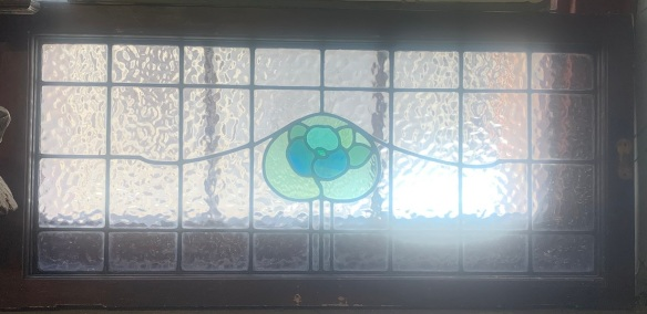 Large Fanlight window salvaged, recycled, demolition, reproduction, restoration, home renovation secondhand, used , original, old, reclaimed, heritage, antique, victorian, art nouveau edwardian, georgian, art decowith flower motif, 1062 mm x 500 mm , $ 285
