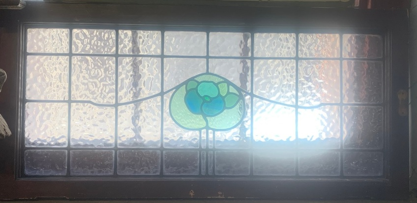 Large Fanlight window with flower motif, 1062 mm x 500 mm , $ 285