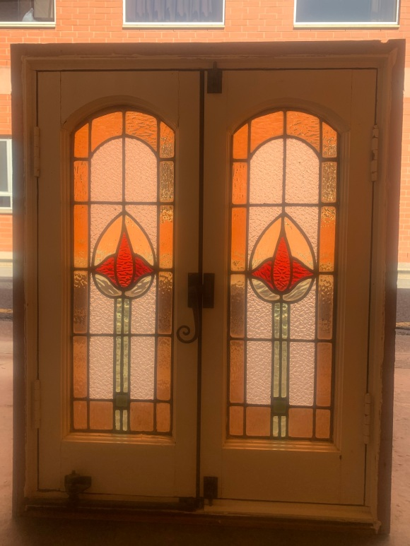 Nice casement window with leadlight panels and original hardware , 837 mm x 670 mm , $ 525