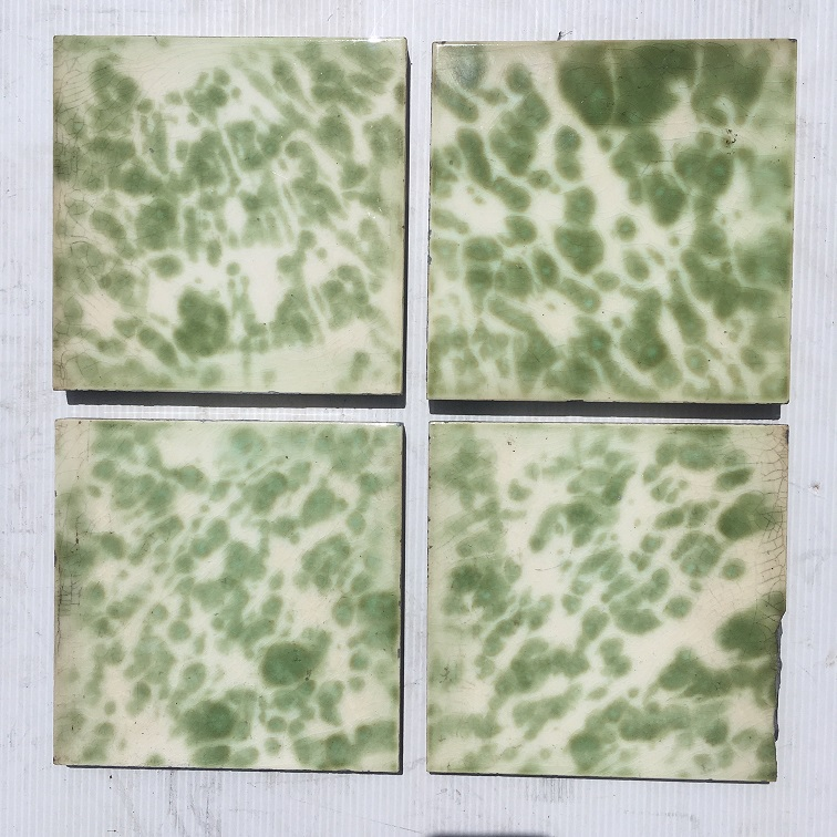 American Encaustic Tile Co, c 1900, 6 x6 inch, interesting olive green glaze with pale blue centres and touch of light brown on the outer edges., 4 tile set $110 SET 150 salvaged, recycled, demolition, reproduction, restoration, renovation,collectable, secondhand, used , original, old, reclaimed, heritage, antique, victorian, art nouveau edwardian, georgian, American Encaustic Tile Co, c 1900, 6 x6 inch, interesting olive green glaze with small dots of pale blue inside and touch of light brown on the outer edges., 4 tile set $110 SET 150