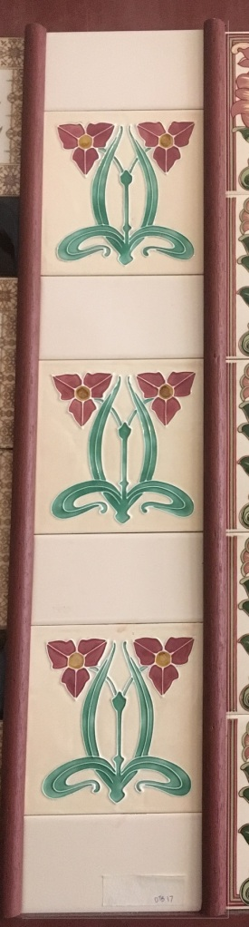 Reproduction feature tiles 'Water plantain' pink flowers on cream background $240 for two panel set OTB 23