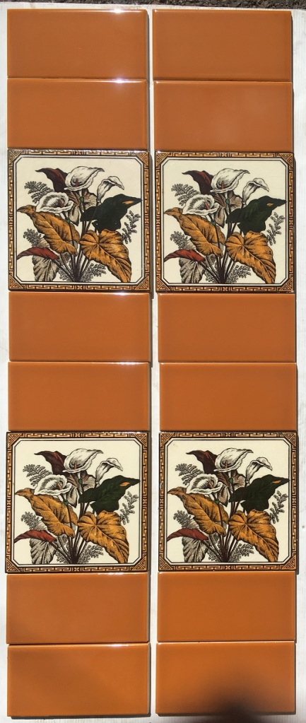 salvaged, recycled, demolition, reproduction, restoration, renovation,collectable, secondhand, used , original, old, reclaimed, heritage, antique, victorian, art nouveau edwardian, georgian, art deco Lily design reproduction feature tiles, ochre yellow / brown tones with cream background, 6 x 6 inch, two panel fireplace set, $165 OTB 26