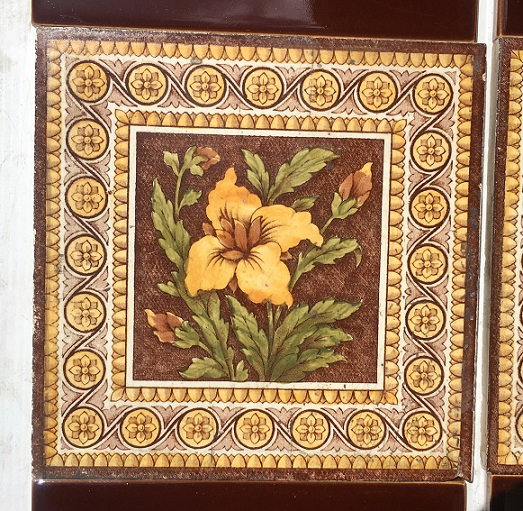 salvaged, recycled, edwardian washstand tiledemolition, reproduction, restoration, renovation,collectable, secondhand, used , original, old, reclaimed, heritage, antique, victorian Original Pilkington hand tinted feature tiles, late Victorian early / Edwardian, 6 x 6 inch, yellow flower / foliage with ornate border, two panel fireplace set, $240 OTB 7
