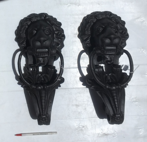 Oversize lion door knockers, cast iron. Height 40cm x width 18cm, 2 available, $175 each salvaged, recycled, demolition, reproduction, restoration, renovation,collectable, secondhand, used , original, old, reclaimed, heritage, antique, victorian, art nouveau edwardian, georgian, art deco