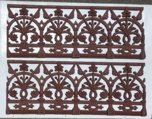 Original cast iron decorative panels, 2 available, h 300 x length 785mm each salvaged, recycled, demolition, reproduction, restoration, renovation,collectable, secondhand, used , original, old, reclaimed, heritage, antique, victorian, art nouveau edwardian, georgian, art deco