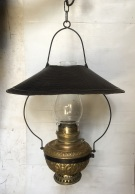 1900's Edward Miller 'The Juno Lamp' made in the USA, embossed brass, original oil hanging lamps complete, height approx 74cm (not including chain length),width 50cm, 2 matching lamps available, $485 each reclaimed, heritage, antique, victorian, art nouveau edwardian, georgian, art deco