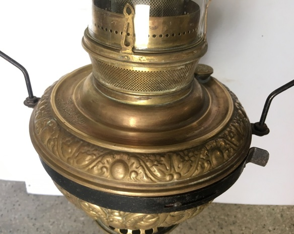 detail of 1900's Edward Miller 'The Juno Lamp' made in the USA, embossed brass, original oil hanging lamps complete, height approx 74cm (not including chain length),width 50cm, 2 matching lamps available, $485 each